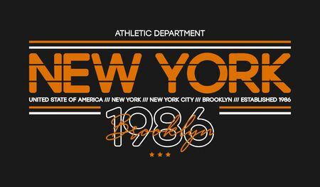 New York city athletic t-shirt design. Typography graphics for tee shirt, sportswear print. Vector illustration.