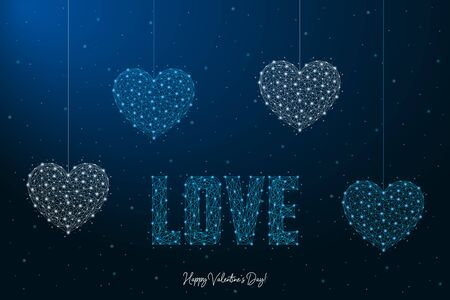 Happy Valentines Day with LOVE word and heart. Illustration made by points and lines, polygonal wireframe mesh on night sky, dark blue background. Low poly greeting card. Vector.