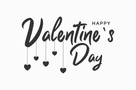 Happy Valentines Day text banner with hearts. Vector illustration.