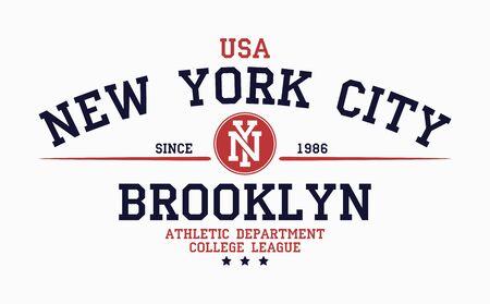 Tipografía de Nueva York, Brooklyn para el diseño de camisetas universitarias. Gráficos para productos impresos, camisetas, ropa deportiva vintage. Ilustración de vector. Ilustración de vector
