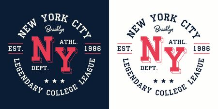 NY college league print for t-shirt design. New York, Brooklyn typography graphics for college apparel. Vector illustration.