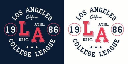 LA college league print for t-shirt design. Los Angeles, California typography graphics for college apparel. Vector illustration. 일러스트