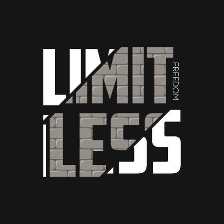 Grenzenloser Freiheitsslogan für T-Shirt-Design mit Ziegelwandstruktur. Typografiegrafiken für den Bekleidungsdruck. Vektor-Illustration.
