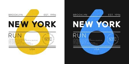 New York marathon print for t-shirt design. Athletic typography graphics for running theme. Brooklyn run apparel print with number. Vector illustration.