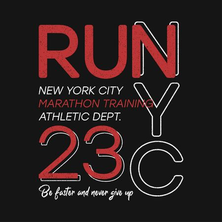 T-shirt design for run and running in New York. NYC typography graphics for marathon theme. Athletic apparel print with number. Vector illustration.