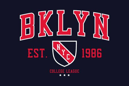 NYC, Brooklyn college typography graphics with shield for t-shirt. New York, Bklyn college league apparel print. Vector illustration.