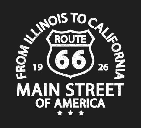 Route 66 vintage retro print for t-shirt. Typography graphics with road sign from Illinois to California. Apparel design with grunge. Vector illustration.