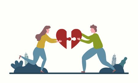 Men and women who assemble the puzzle in heart form. Concept of love. Illustration for Valentines day. Vector.