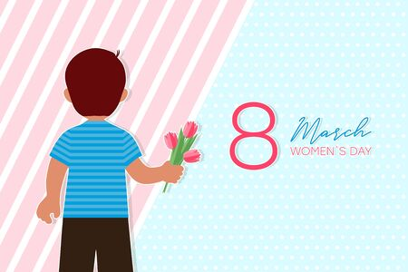 8 march card with boy who gives flowers. Child gives tulips on Womens Day, back view. Vector illustration.
