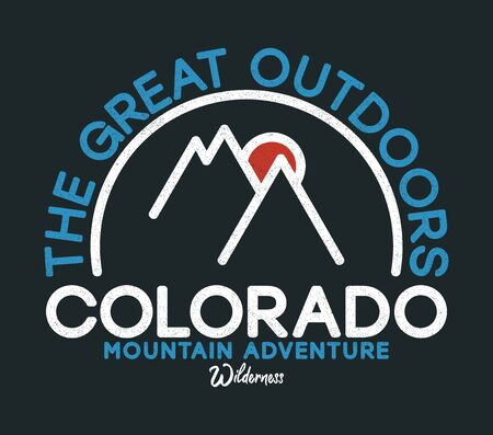 Colorado t-shirt design with slogan. Typography graphics with mountains and sun for apparel print. Vector illustration.