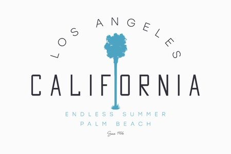 California, Los Angeles t-shirt design with palm tree silhouette. Endless summer slogan for tee shirt print. Typography graphics for California apparel. Vector illustration. Stock Illustratie