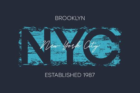 NYC, Brooklyn t-shirt design with brush stroke. New York City typography graphics for athletic apparel, tee shirt print. Vector illustration.