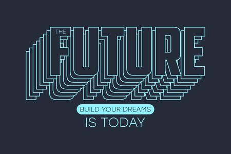 Typography graphics for t-shirt with slogan - Future. Apparel print. Vector illustration.