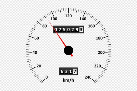 Car speedometer at transparent background. Speedometer with speed scale and kilometer counter. Vector illustration.