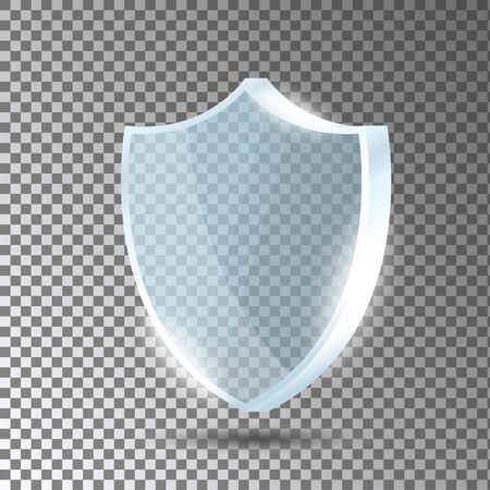 Glass shield. Blue acrylic security shield or plate with gleams and light reflections. Concept of award trophy or safety on transparent background. Vector illustration.