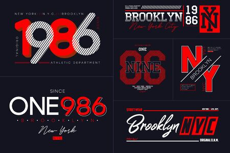 New York, NYC typography set for t-shirt. Brooklyn graphics for tee shirt. Collection of prints for apparel. Vector illustration.