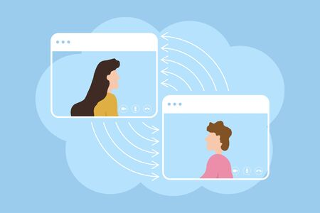 Video call conference. Concept of online meeting, working from home and learning at distance. Online video calling. Flat vector illustration.