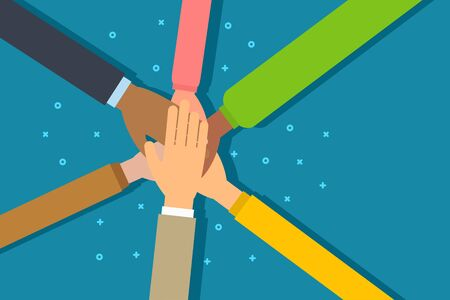 People putting their hands together. Friends join hands in a circle showing unity. Concept of teamwork, community and friendship. Top view. Flat vector illustration.