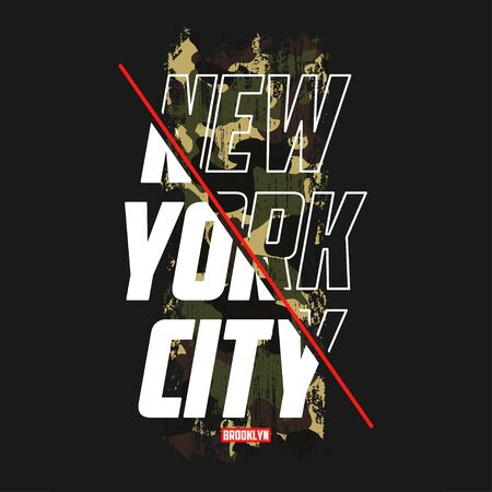 New York slogan t-shirt with camouflage texture. Brooklyn camo tee shirt with camo typography print in military and army style. Vector illustration. Vettoriali