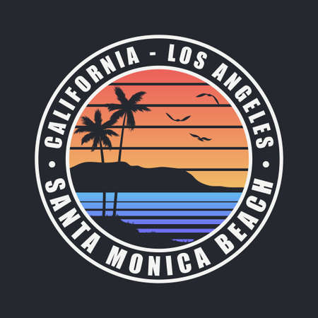 California Santa Monica Beach t-shirt design. Typography graphics for tee shirt with palm trees. Los Angeles county apparel print. Vector illustration.