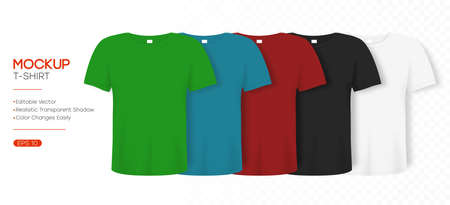 T-shirt realistic mockup in differents colors. 3d template of tee shirt with short sleeve. Basic editable mockup in front view with shadow for presentation, advertising or online store. Vector.
