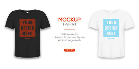 T-shirt realistic mockup in white and black color. 3d template of tee shirt with short sleeve. Basic editable mockup in front view with shadow for presentation, advertising or online store. Vector.