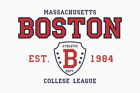 Boston, Massachusetts slogan typography graphics for t-shirt. College print for apparel. Tee shirt design with shield. Vector illustration.
