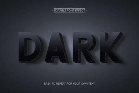 Text effect, bold 3d sans-serif with shadow. Editable font effect. Vector Ilustração