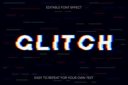Glitch text effect. Editable glitch font effect. Vector