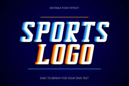 Sport text effect, college style text sans-serif with shadow. Colorful editable font effect. Vector Ilustração