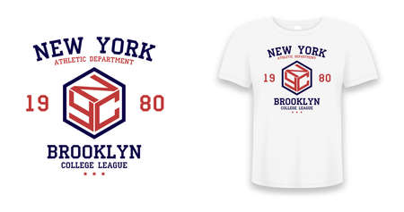 New York, Brooklyn slogan typography graphics for t-shirt. College print for apparel. Tee shirt design with shield on t-shirt mockup. Vector illustration.