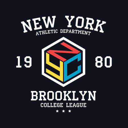 NYC design for t-shirt. New York, Brooklyn typography graphics for tee shirt. College print for apparel. Vector illustration.