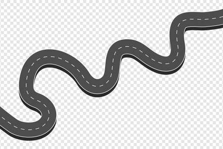 Winding curved asphalt road. Highway with markings in top view at transparent background. Road direction, map way location infographic mockup. Vector illustration. Ilustração