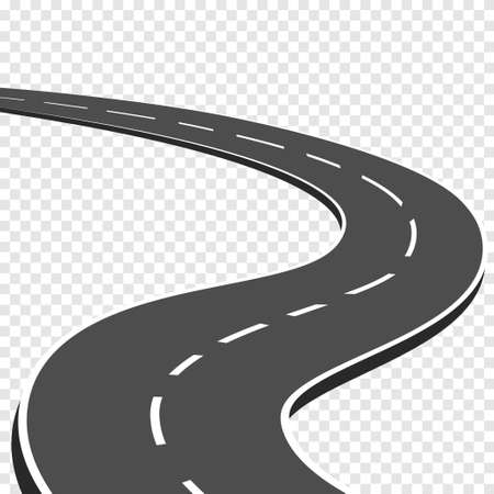 Winding curved road with markings. Highway going into the distance. Asphalt pathway on transparent background. Road direction, route way location infographic mockup for map. Vector illustration.