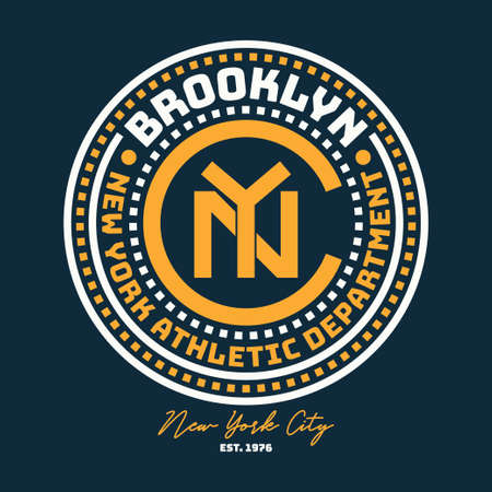 New York, Brooklyn typography for design clothes, college t-shirt. Graphics for print product, athletic apparel. Vintage badge for original sportswear. Vector illustration.