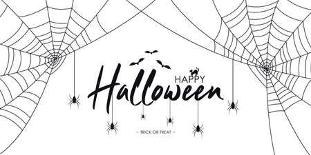 Happy Halloween text banner with spiders and web, bat and cat.  Background for Halloween banner, invitation, card with spiderweb and spider. Vector Ilustração