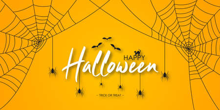 Happy Halloween banner or party invitation. Halloween lettering with spiders, spider web, bat and cat at orange background with shadow. Vector illustration.