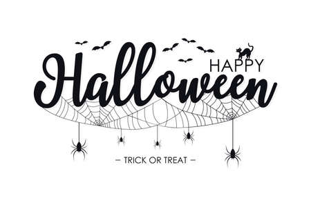 Happy Halloween lettering for text banner. Background with spiders, spider web, bat and cat for Halloween celebrete. Vector illustration.