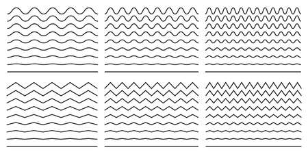 Seamless wavy line and zigzag patterns set. Horizontal curvy waves stripe and zig zags. Collection of underlines, linear sings, border and frames design element. Vector illustration.