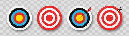 Archery target with arrows. Set of targets at transparent background with shadow. Concept of archery or reaching the goal in business. Vector illustration. Vettoriali