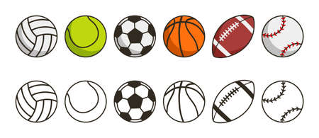 Sport ball set. Game balls icons. Volleyball, tennis, soccer, basketball, american football or rugby and baseball sport equipments. Vector illustration.