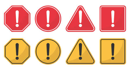 Hazard attention sign set. Collection yellow and red of signs with with exclamation mark in circle, triangle, square and polygon shapes. Vector.