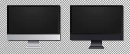 Realistic computer monitor screen. Computer display at transparent background. Device mockup set for infographics or presentation in silver and dark gray with shadow. Vector. Vettoriali