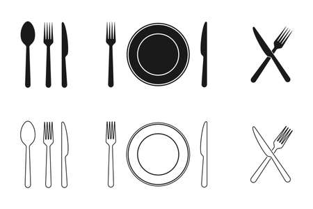 Plate, knife, fork and spoon icons set. Tableware flat and line icons collection. Vector illustration.