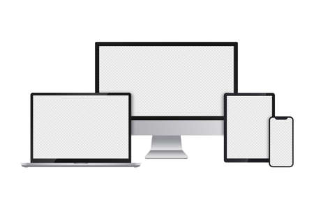 Realistic set of computer monitor, laptop, tablet and smartphone with transparent screens for infographics or presentation. Device collection mockup, electronic gadgets in silver color. Vector