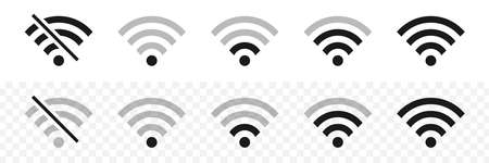 Wifi wireless icons. Visualization of Wifi connection signal quality. Internet connection. Vector illustration.