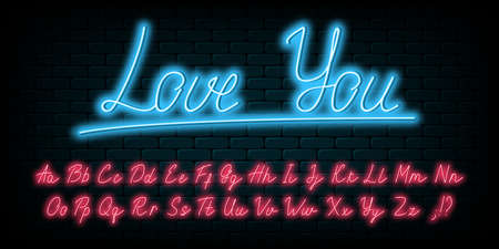 Glowing neon handwritten script font. English neon alphabet with uppercase and lowercase bright letters. Lettering style font. Vector illustration.