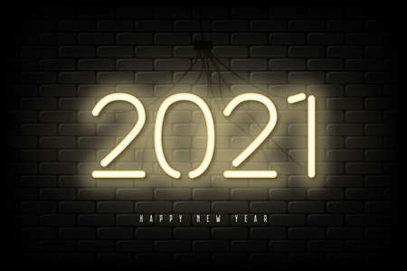 2021 New Year neon banner. Happy New Year and Merry Christmas glowing sign for holiday card and celebration design. Vector illustration. Vettoriali