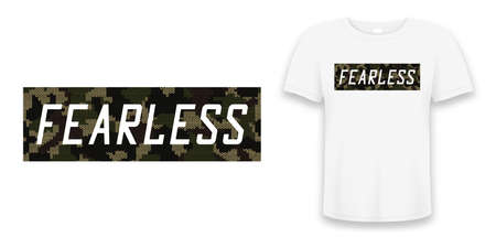 Fearless - knitted camouflage slogan for t-shirt design. Typography graphics for tee shirt in military and army style with knit camo on t shirt mockup. Vector illustration. Vettoriali