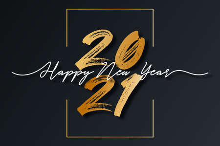 2021 New Year script text with frame. Happy New Year and Merry Christmas lettering for holiday card and celebration design. Vector illustration.